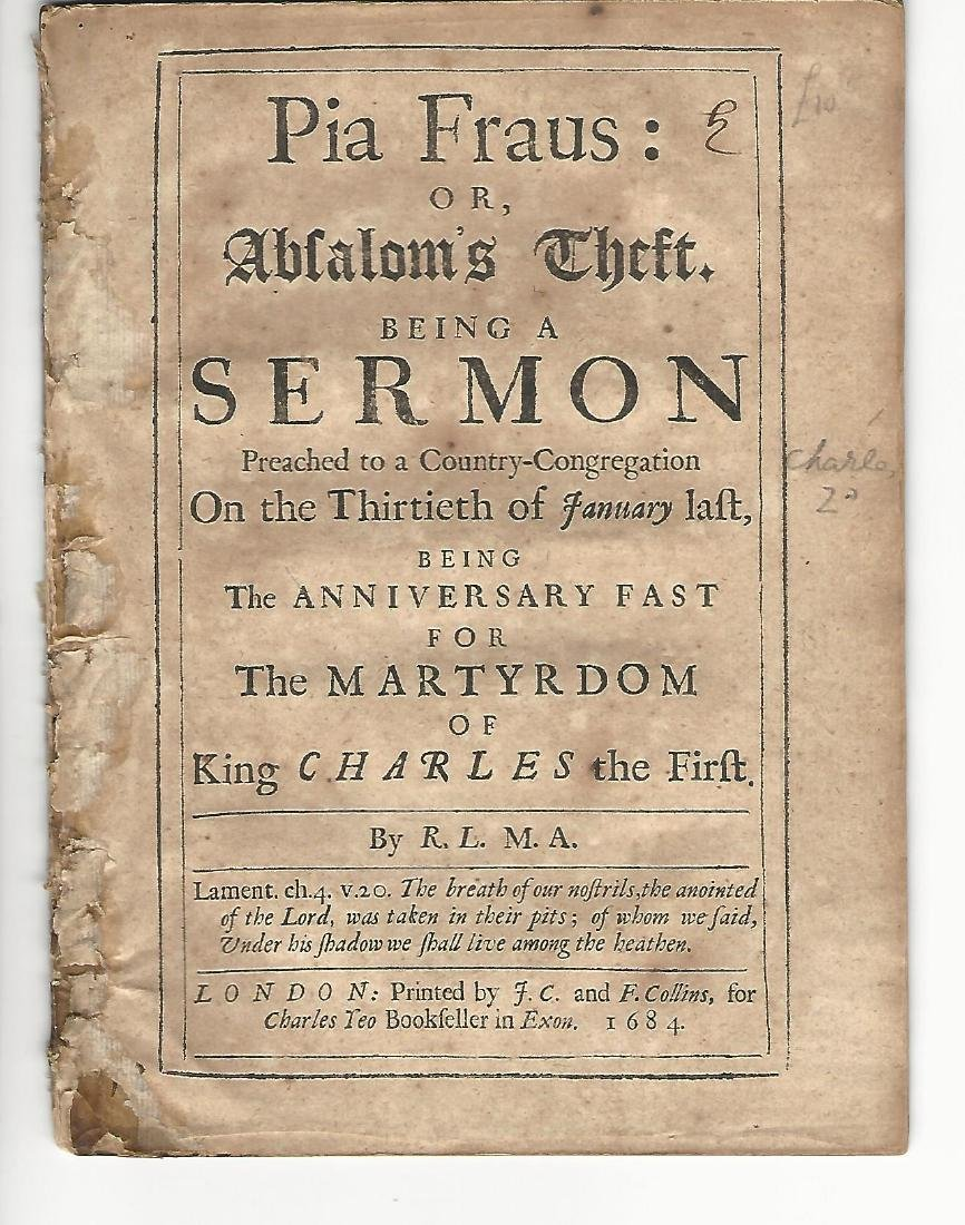 1684 Pamphlet Pia Fraus Anniversary of Murder Charles I