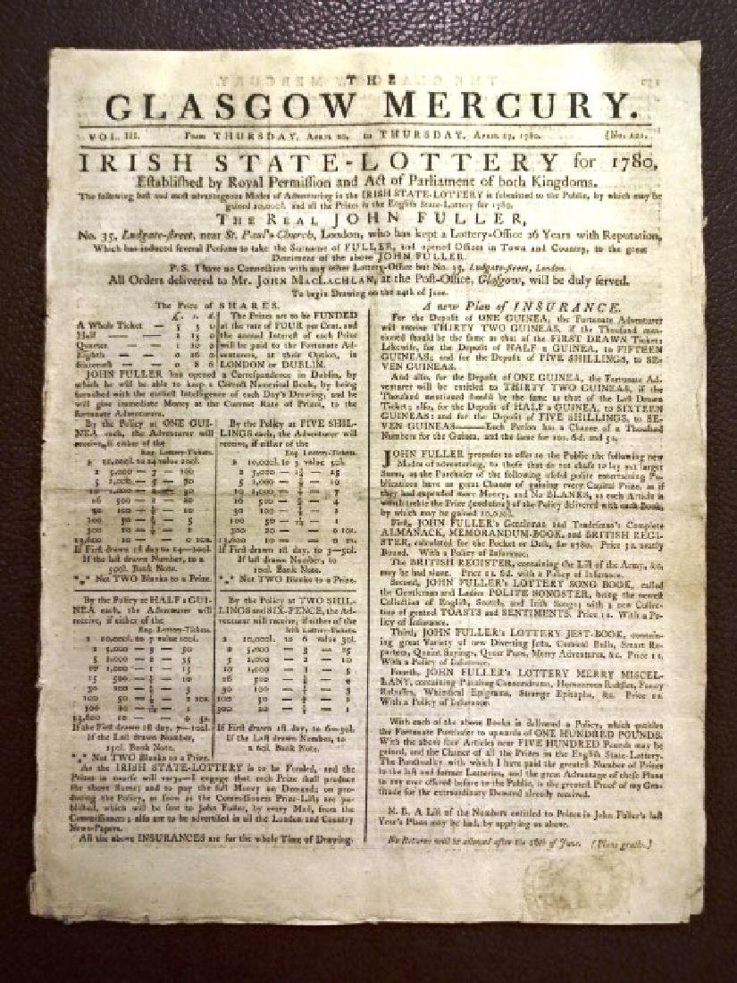 1789 The Glasgow Mercury Revolutionary War