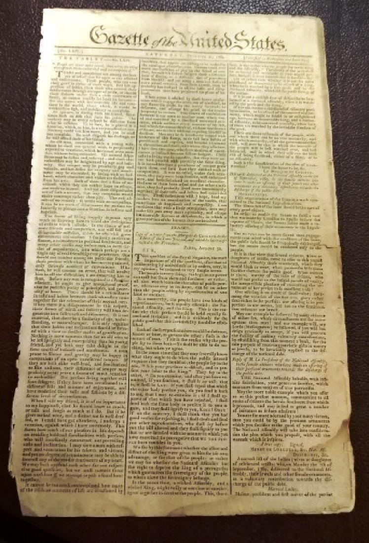 1789 Gazette of United States George Washington Acts