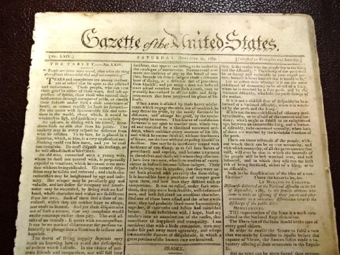 1789 Gazette of United States George Washington Acts - 2
