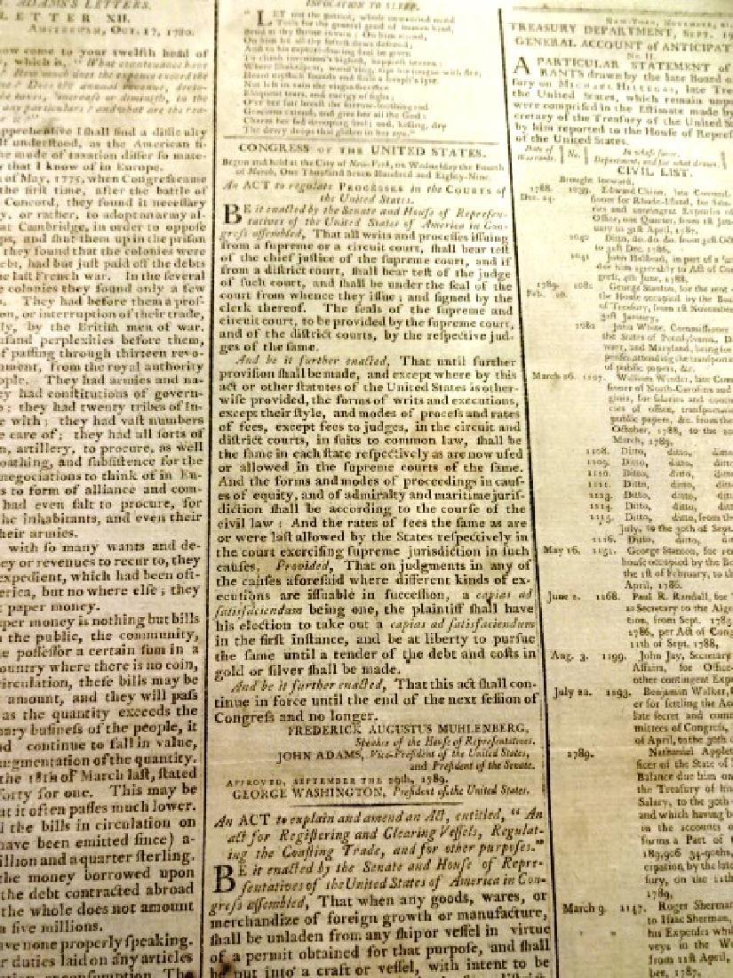 1789 Gazette of United States George Washington Acts - 4
