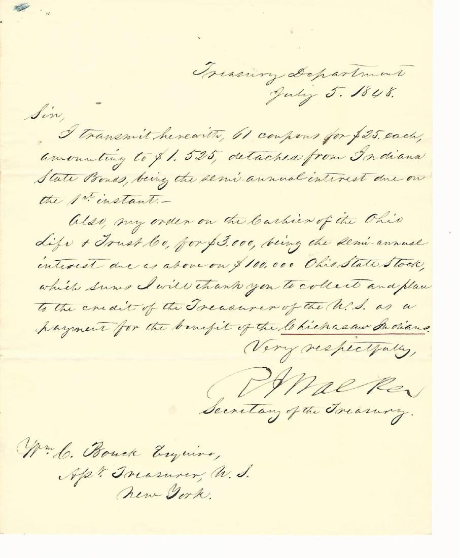 1848 Robert Walker Letter Chickasaw Indian Tribe