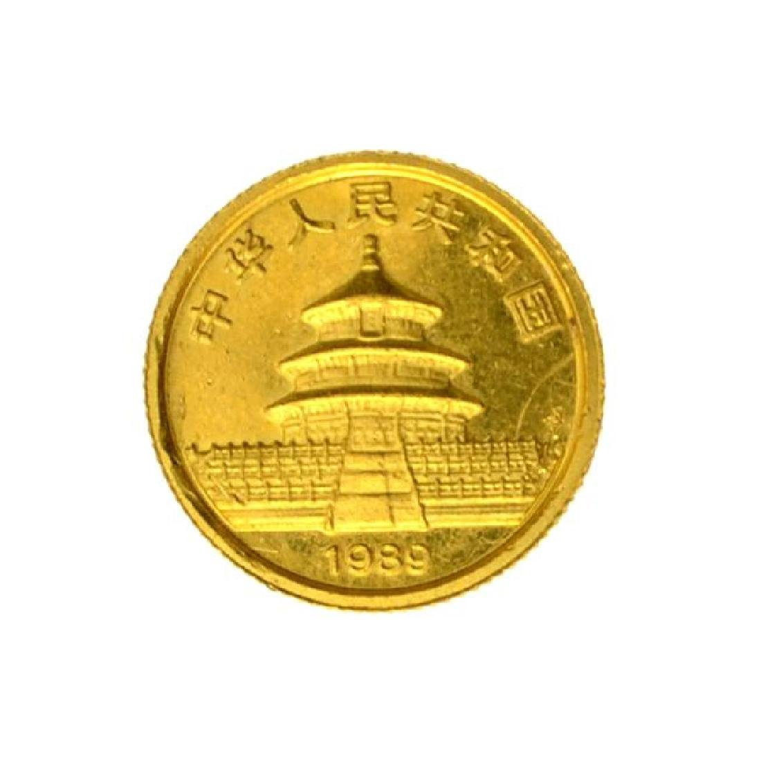 1989 1/20th Small Date Gold Panda 5 Yuan MS Coin JGPS