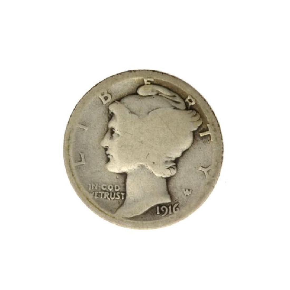 1916-D Mercury Dime Coin - Very Rare - (JG PS)