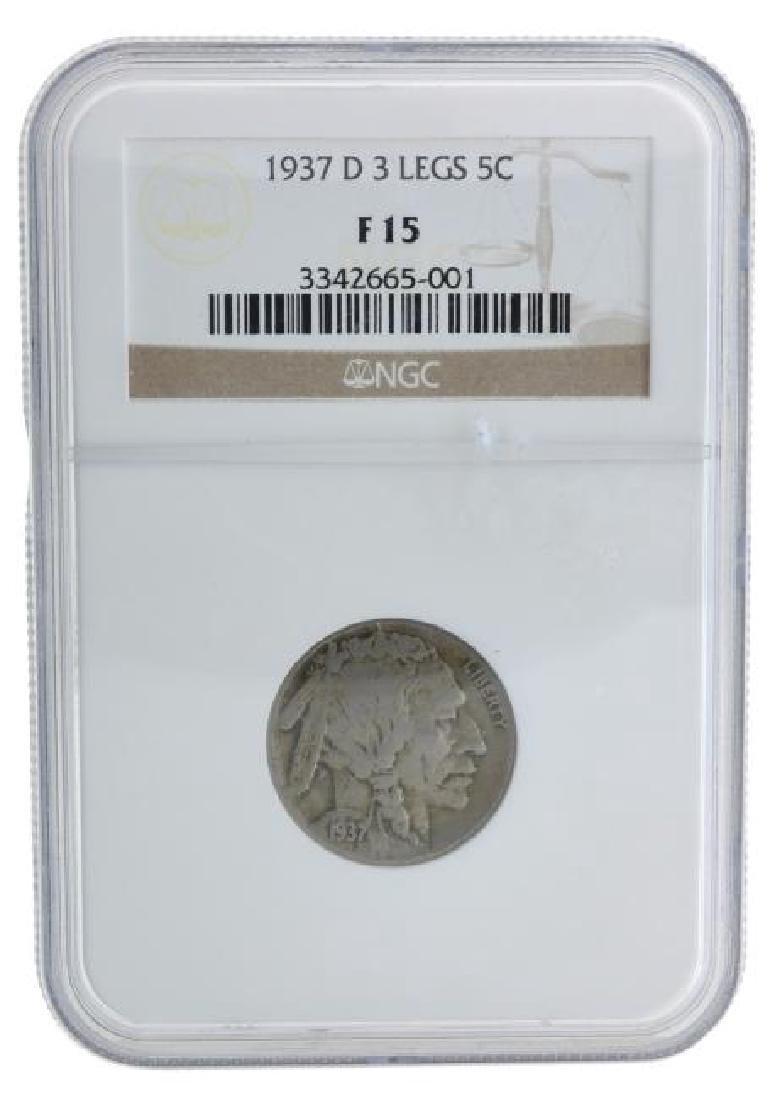 1937-D NGC F15 3 Leg Buffalo Nickel Coin - Very Rare -