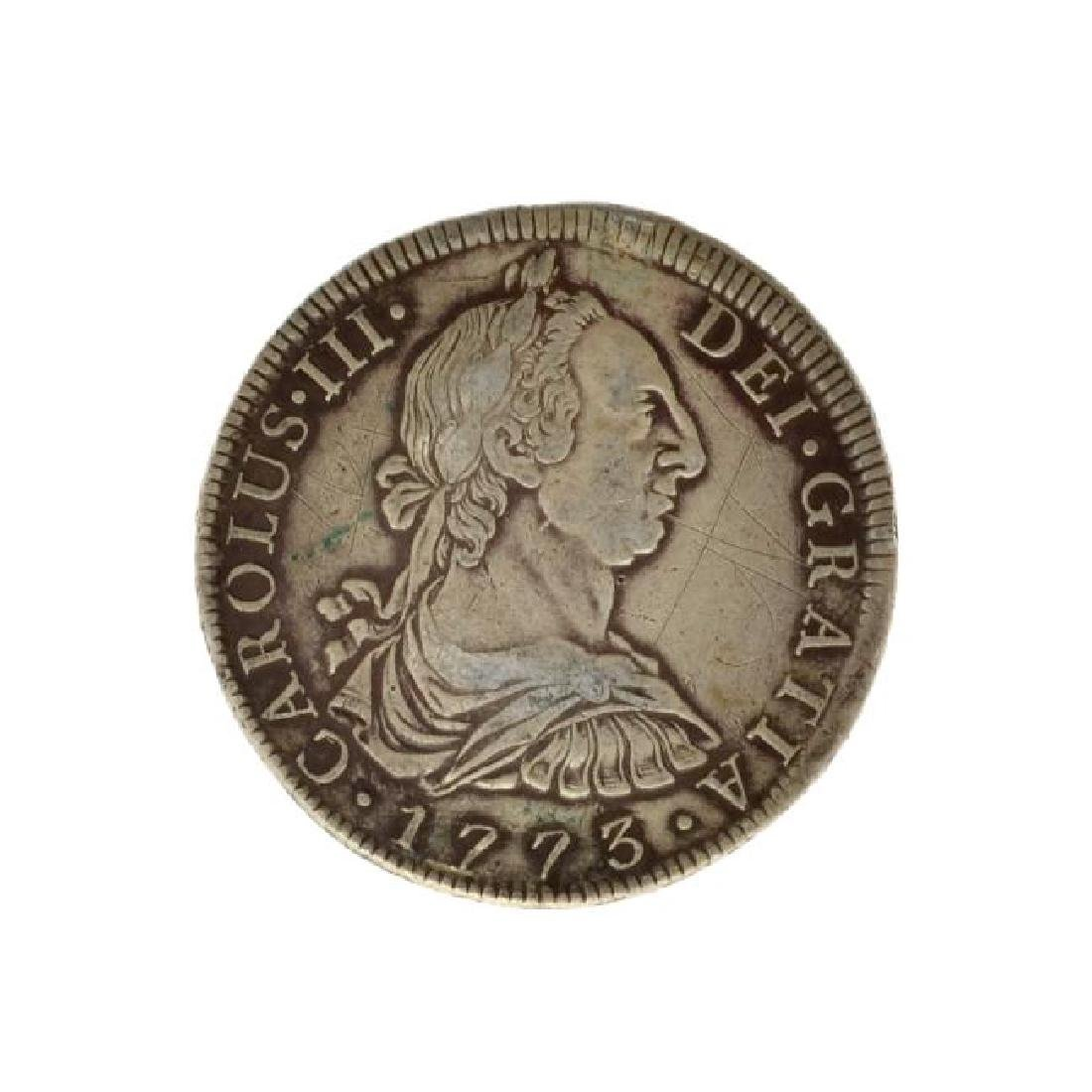 1773 Eight Reales American First Silver Dollar Coin -