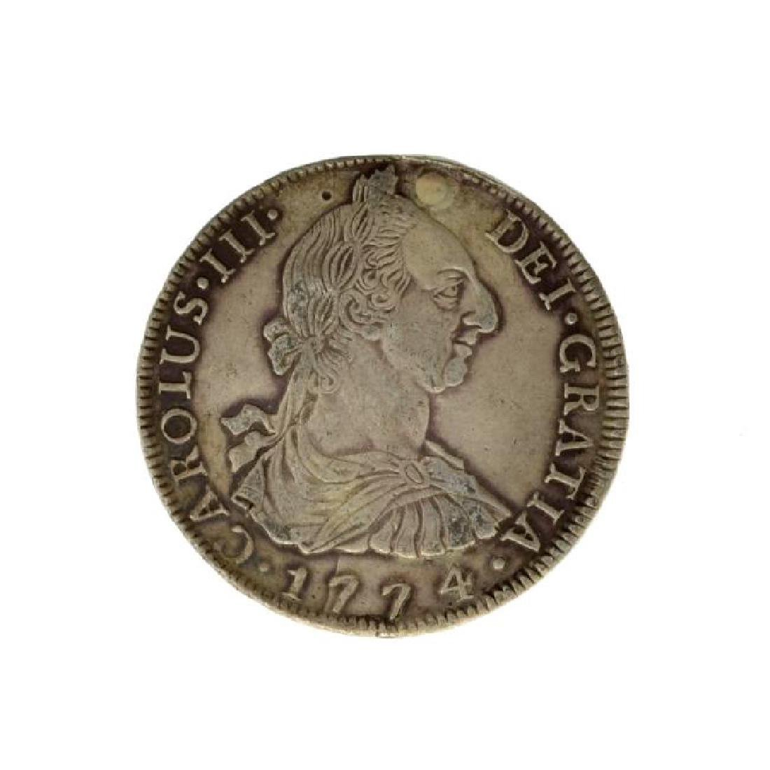 1774 Eight Reales American First Silver Dollar Coin -