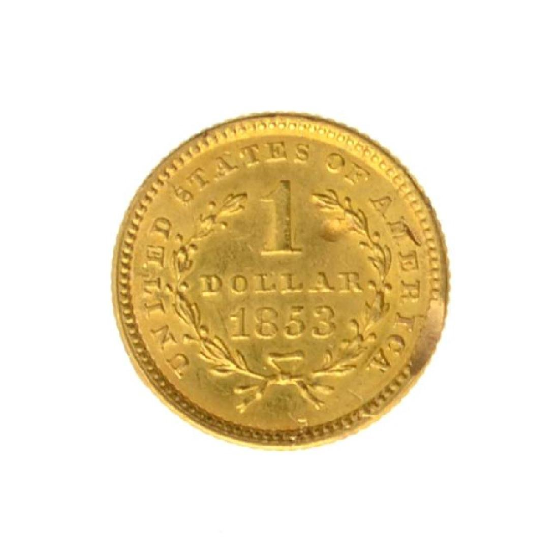 1853 $1 U.S. Liberty Head Gold Coin - Great Investment - 2