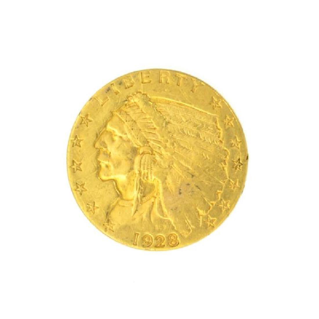 1928 $2.50 U.S. Indian Head Gold Coin - Great