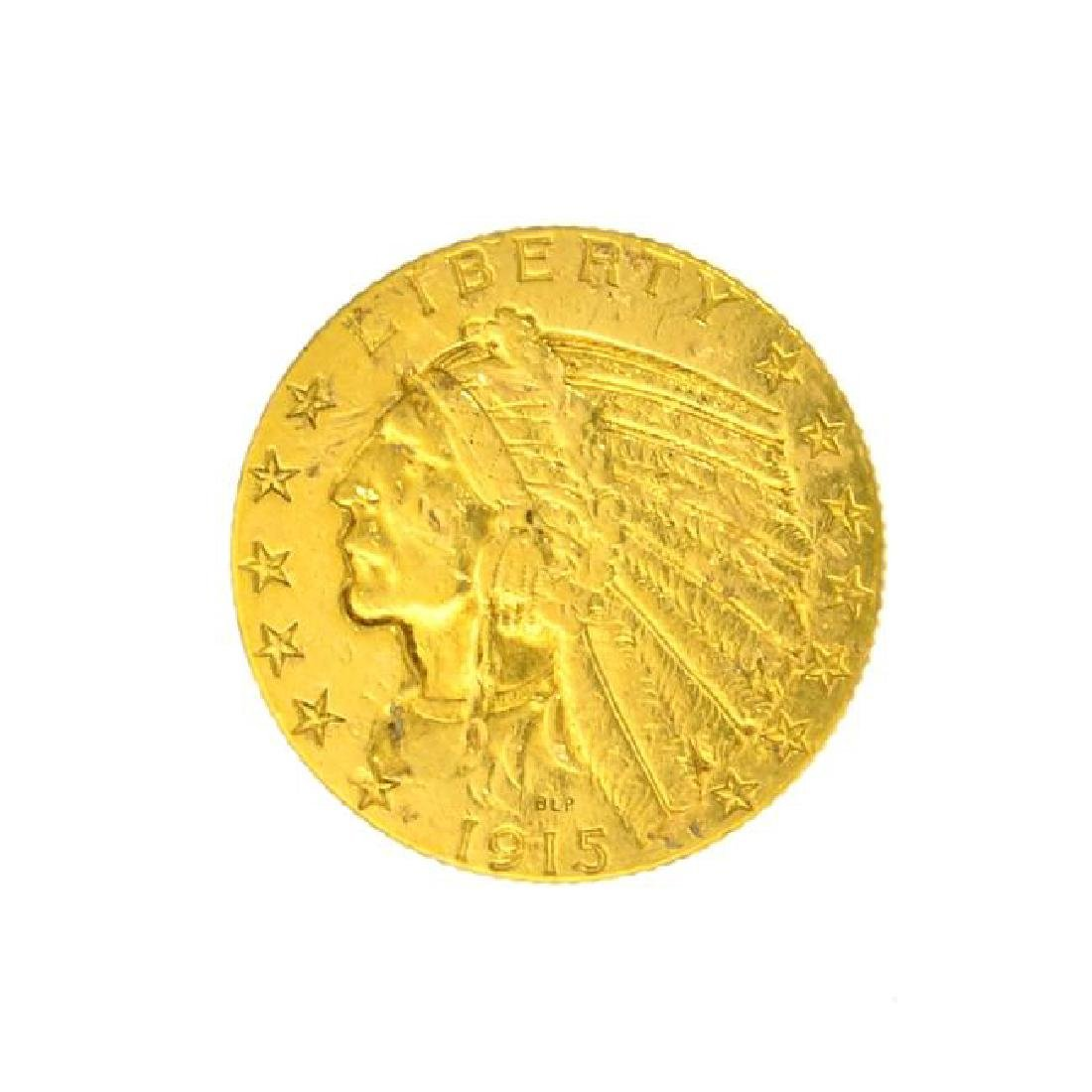 1915 $5 U.S. Indian Head Gold Coin - Great Investment