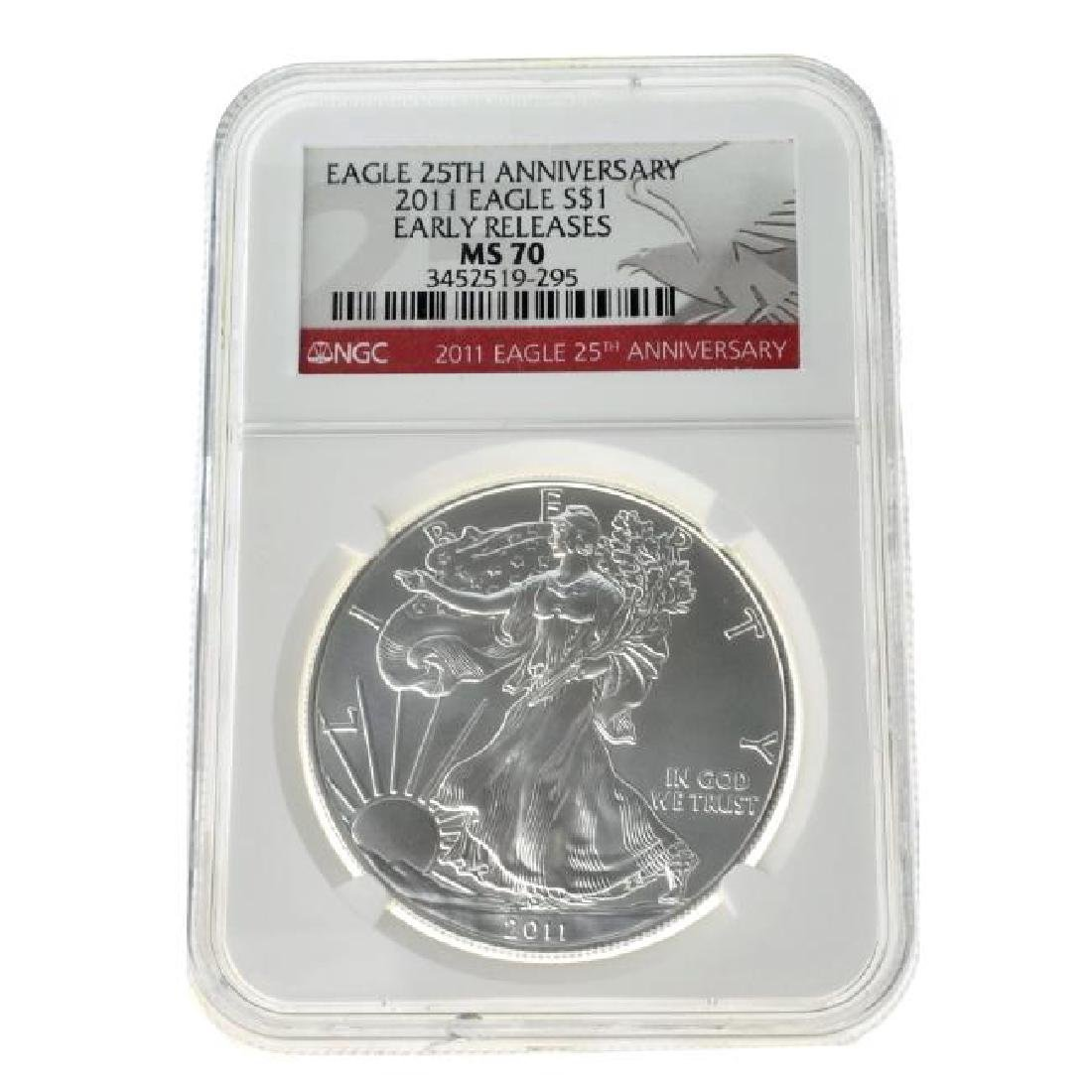 2011 $1 25th Anniversary Silver Eagle NGC MS70 Coin