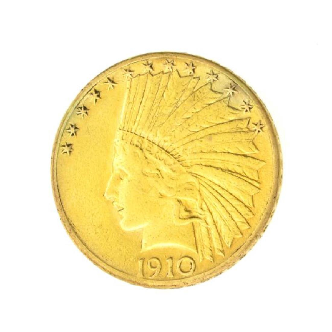 1910-D $10 U.S. Indian Head Gold Coin (JG)