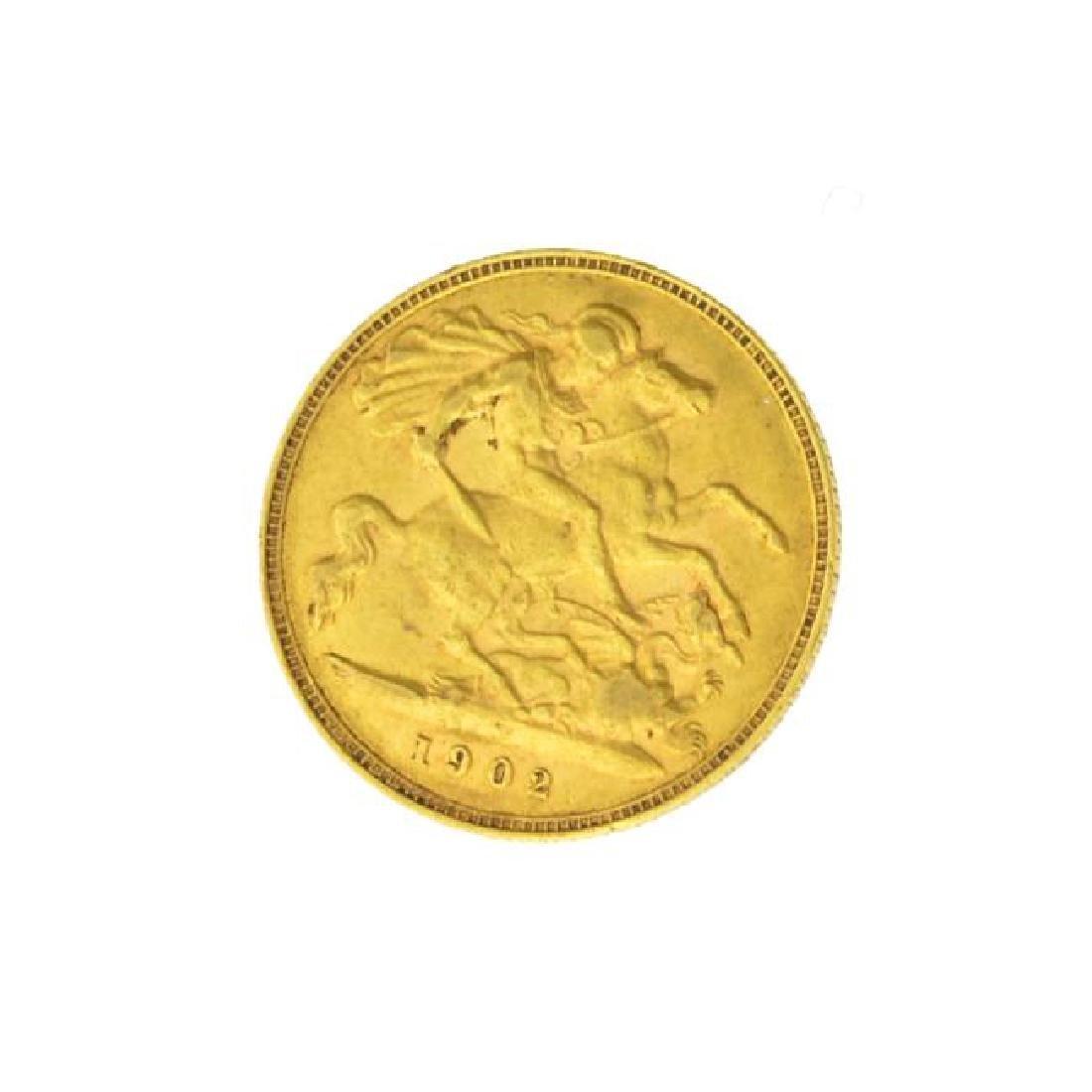 1902 British Half Sovereign Gold Coin (JG) - 2