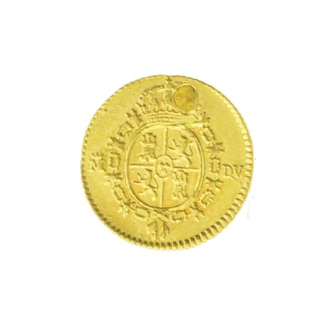 1786 Spain Half Escudo Carlos III Gold Coin (JG) - 2