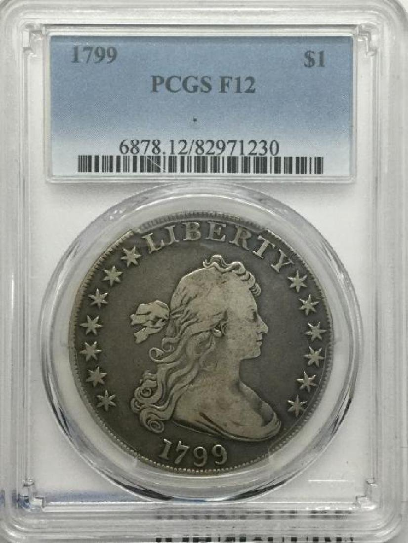 1799 Bust Dollar PCGS F12 Extremely Rare Coin (JG