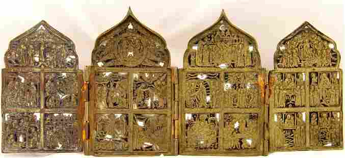 Feasts Venerations Russian Tetraptych Icon, 19th C