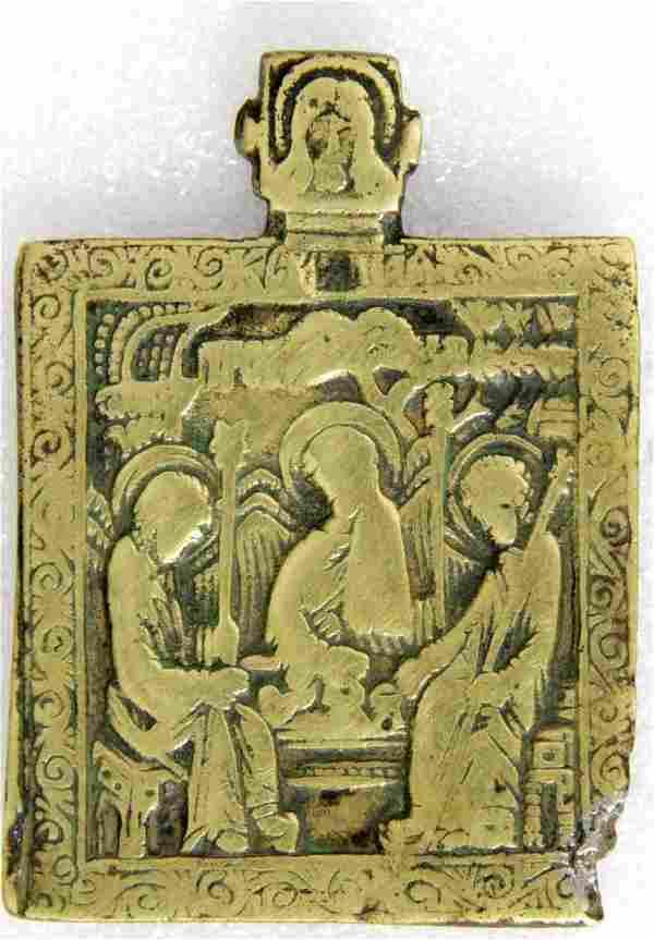 Old Testament Trinity Russian Metal Icon, 18th C