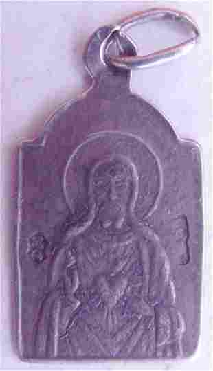 Antique Polish Double Sided Silver Icon Pendant