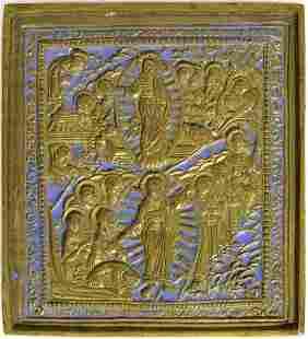 Resurrection Metal Enamel Russian Icon, 19th C