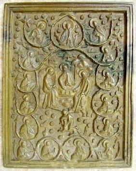 Rare Bronze Russian Icon of Old Testament Trinity