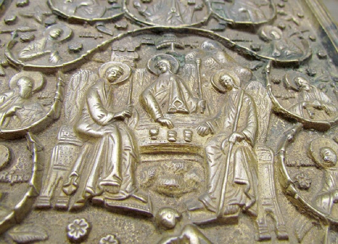 Rare Bronze Russian Icon of Old Testament Trinity - 3