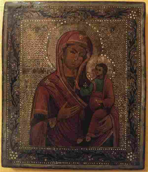 Antique Iverskaya Mother of God Russian Icon, 19th C