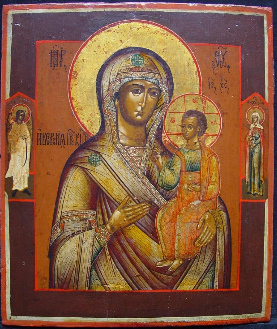 Mother of God of Iver/Iberian Russian Icon, 19th C