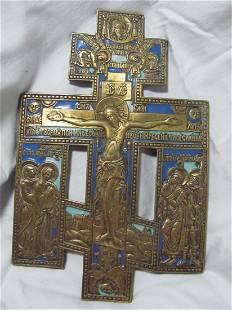 Bronze Enamel Cross Icon, 19th C