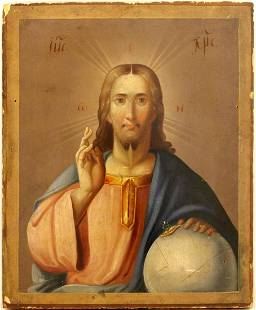 Christ the Almighty Oil Paint Russian Icon, 19th C