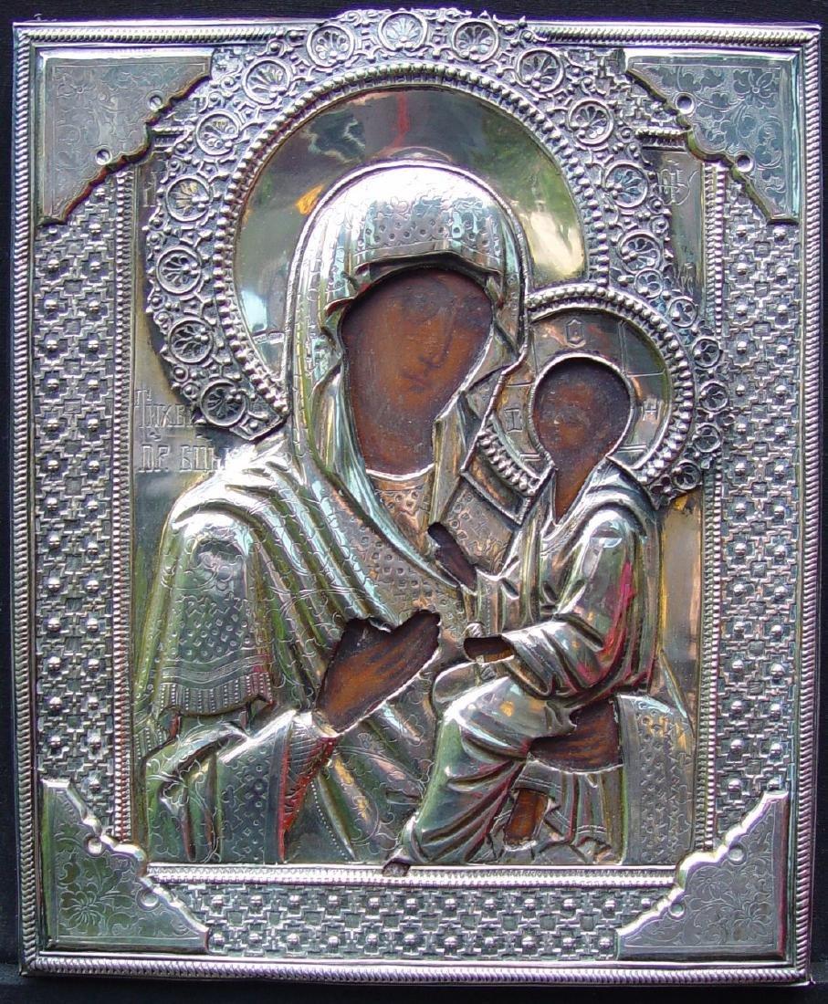 Mother of Tichvin Silver Oklad Russian Icon, 19th C