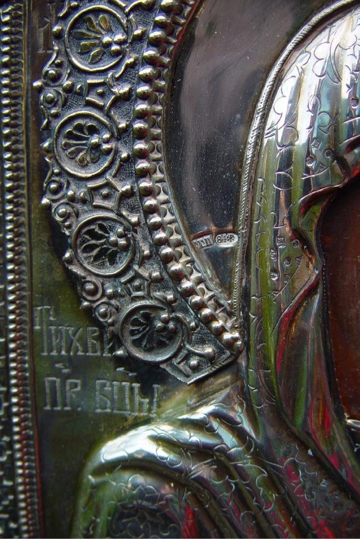 Mother of Tichvin Silver Oklad Russian Icon, 19th C - 4