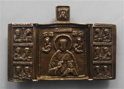 Bronze Triptych of St. Nicholas