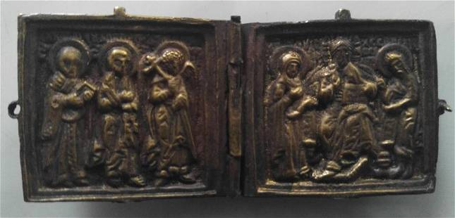 Bronze Russian Diptych Icon