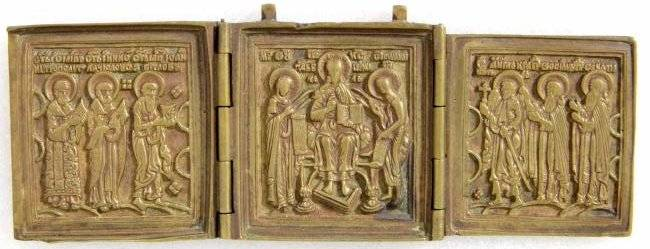 Deesis with Saints Triptych Russian Icon, 19th C