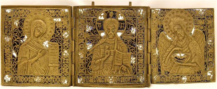 Deesis Russian Triptych Icon, 19th C