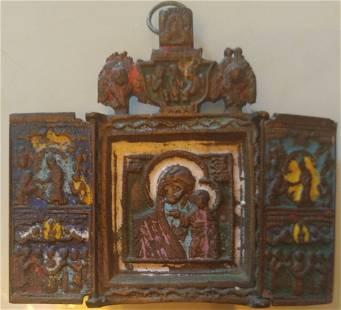 Antique Bronze Enamel Russian Icon Triptych, 18th C