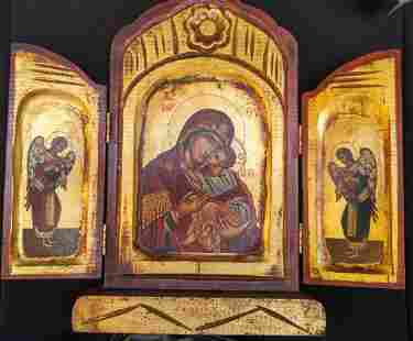 Antique Russian Icon Triptych