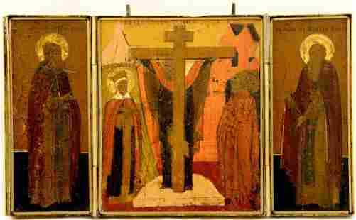 Elevation of the Cross Triptych Russian Icon, 19th C