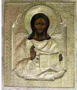 Jesus Metal Oklad Russian Icon, 19th C
