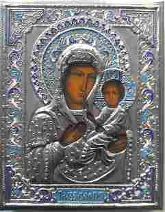 Tihvinskaya Mother of God Russian Enamel Icon