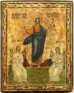 Resurrection & Guardian Angels Russian Icon, 19th C