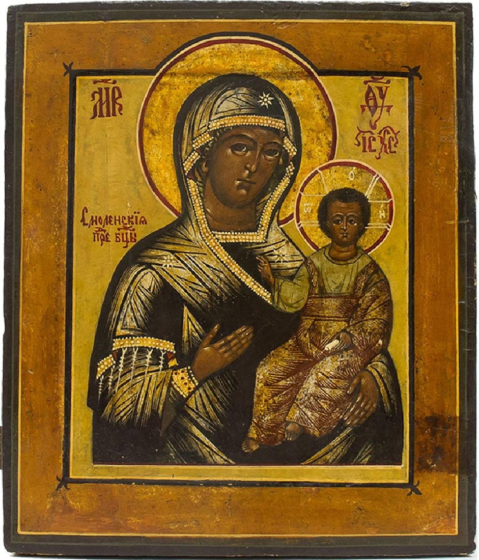 Smolensk Mother of God Russian Icon, 19th C