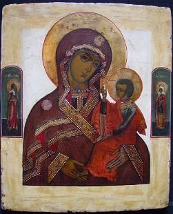 Rare Mother of God Smolenskaja Russian Icon, 18th C
