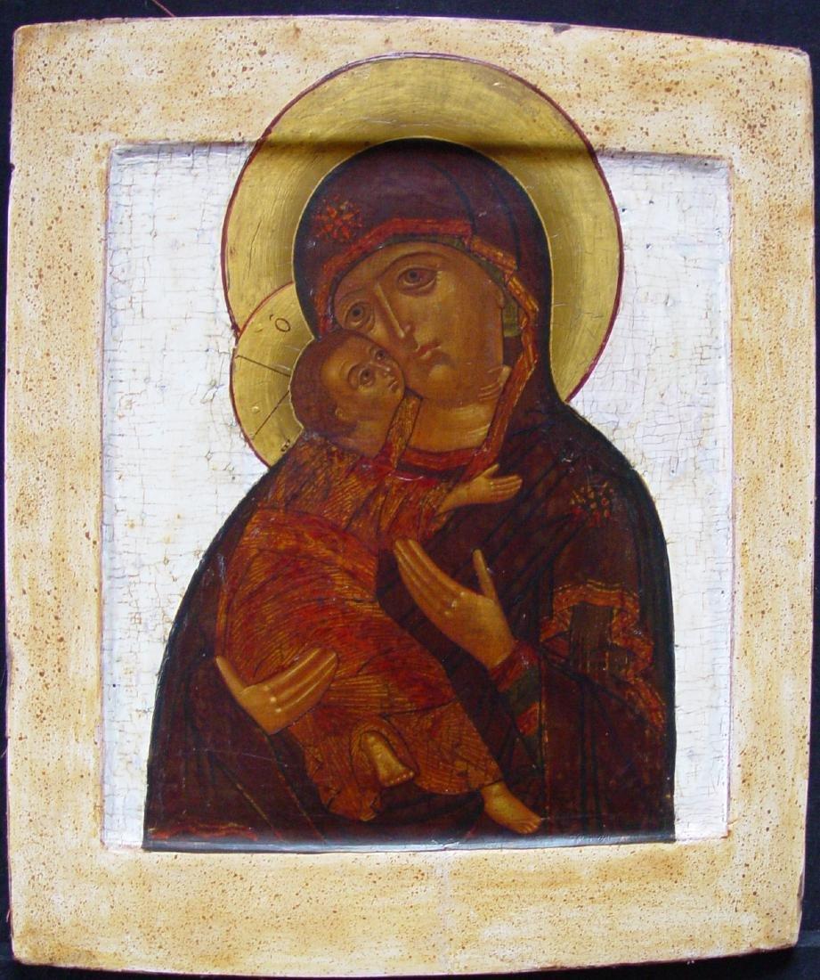 Virgin of Vladimir Russian Icon, 19th C
