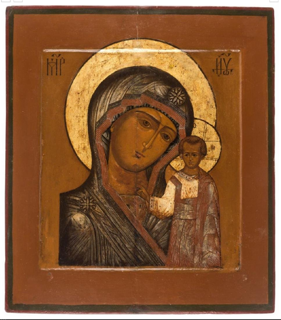 Antique Kazanskaya Mother of God Russian Icon, 19th C