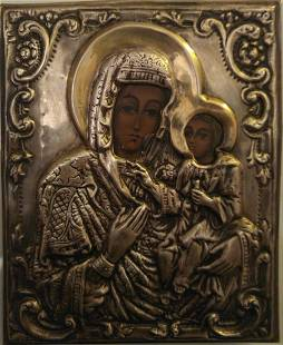 Mother of God Greek Silver Icon