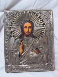Jesus Christ Russian Oklad Icon, 19th C