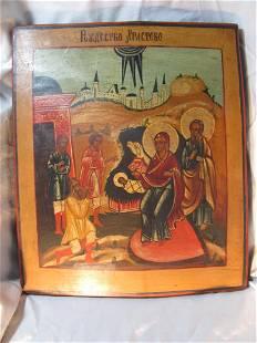 Nativity of Jesus Christ Russian Icon, 19th C