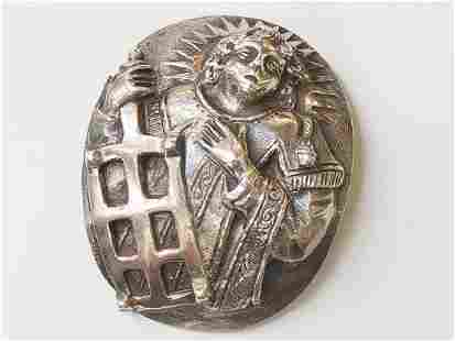 Silver Mount Depicting Saint Lawrence, 15th-16th C