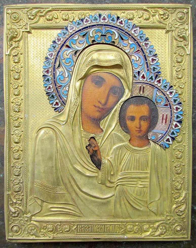 Kazan Virgin Enamel Oklad Kiot Russian Icon, 19th C